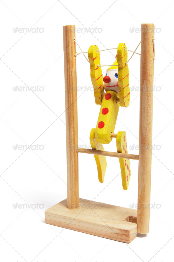Wooden Toy Gymnast - Stock Photo - Images