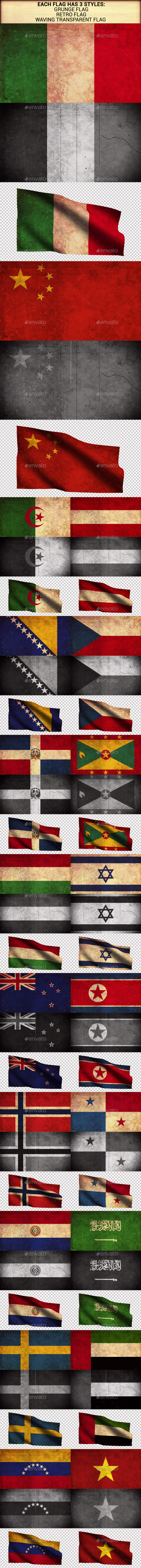 World Flags Grunge and Retro (Part 2) - Urban Backgrounds