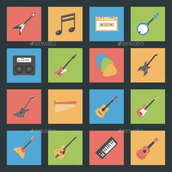 Musical Instruments Flat Icons Set - Web Elements Vectors