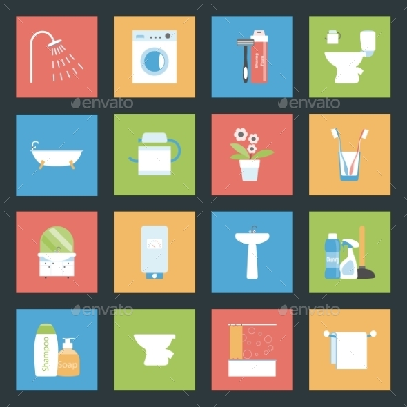 Bathroom Flat Icons Set - Web Elements Vectors