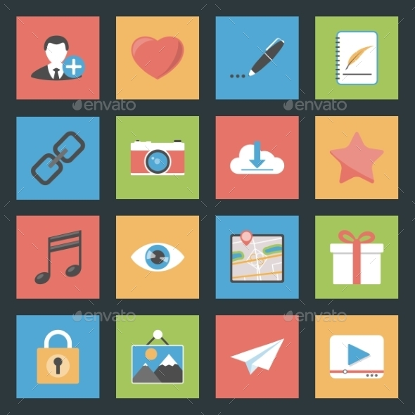 Socia Media Web Flat Icons Set - Web Elements Vectors