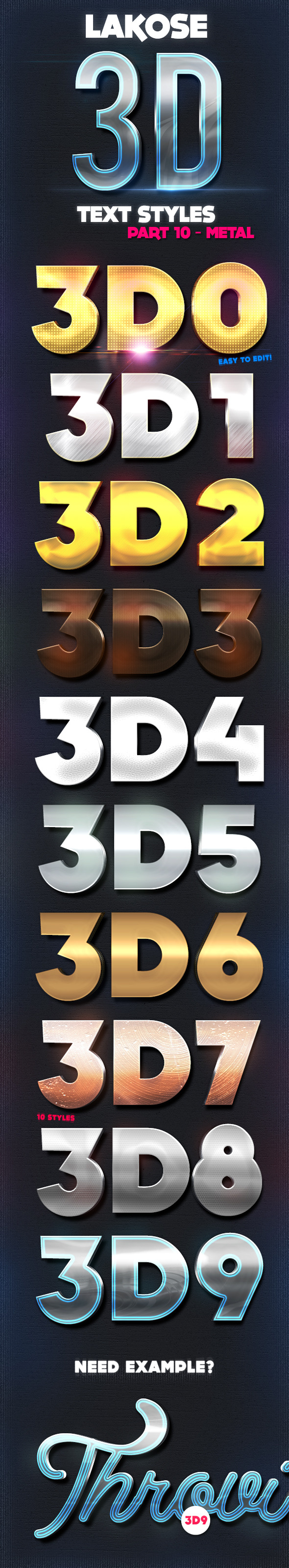 Lakose 3D Text Styles Part 10 - Text Effects Styles