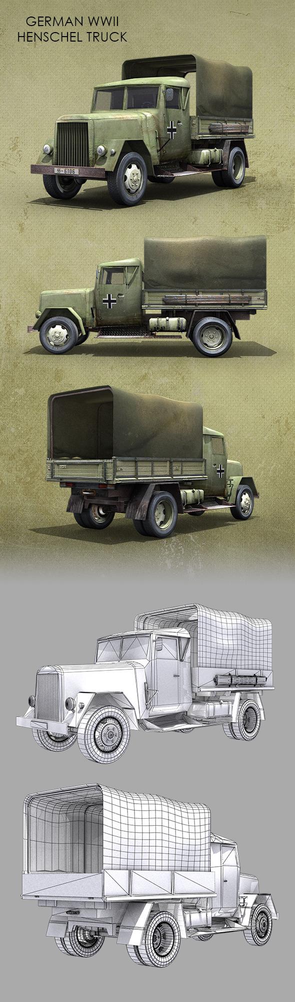 German WWII Henschel Truck - 3DOcean Item for Sale