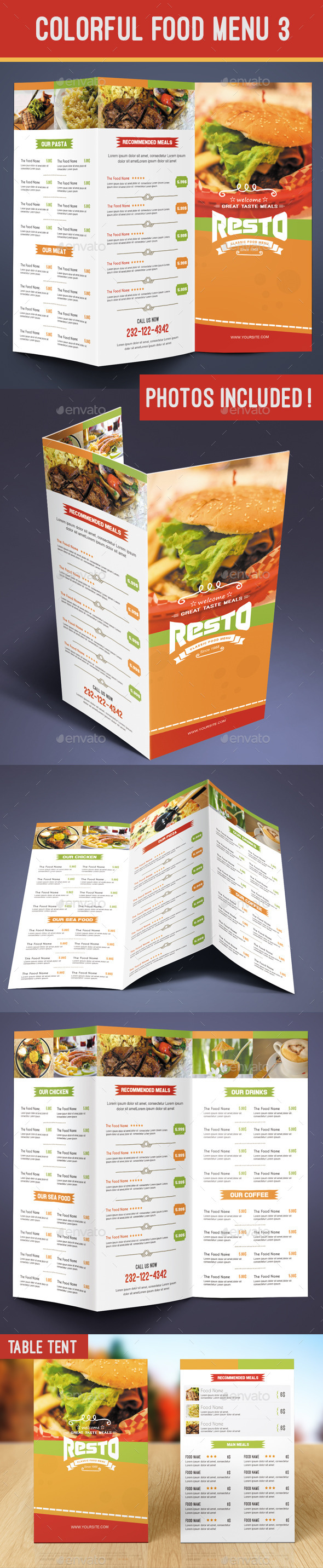 Colorful Food Menu 3 - table tent - Food Menus Print Templates