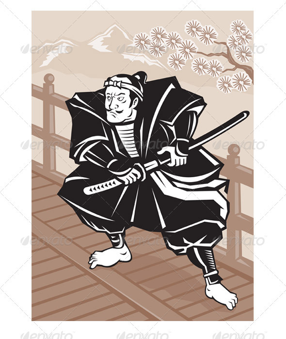 Samurai Warrior With Katana Sword - People Characters