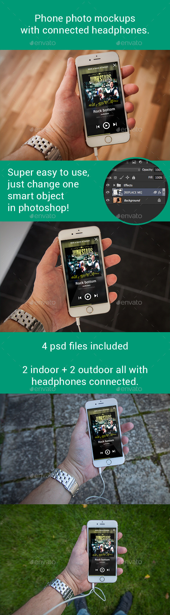 Phone 6 Photo Mockups With Connected Headphones - Mobile Displays