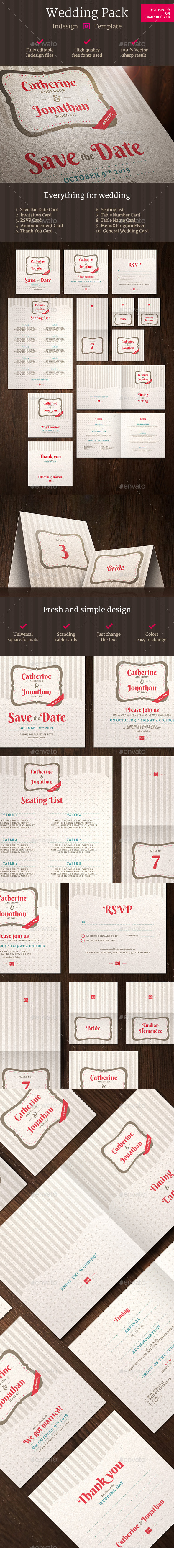 Wedding Pack Indesign Template - Retro/Vintage Business Cards