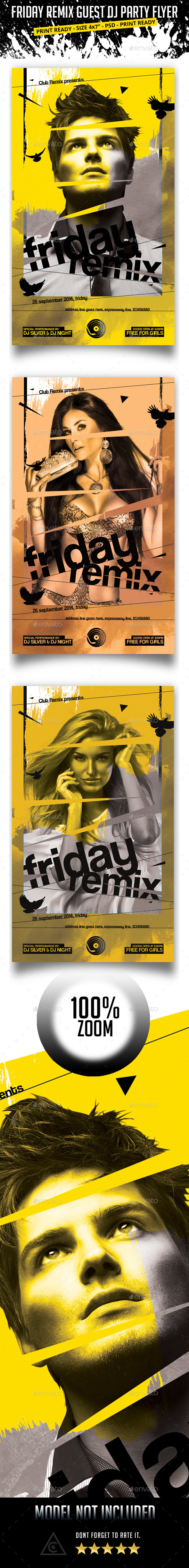 Friday Remix Guest Dj Party Flyer - Clubs & Parties Events