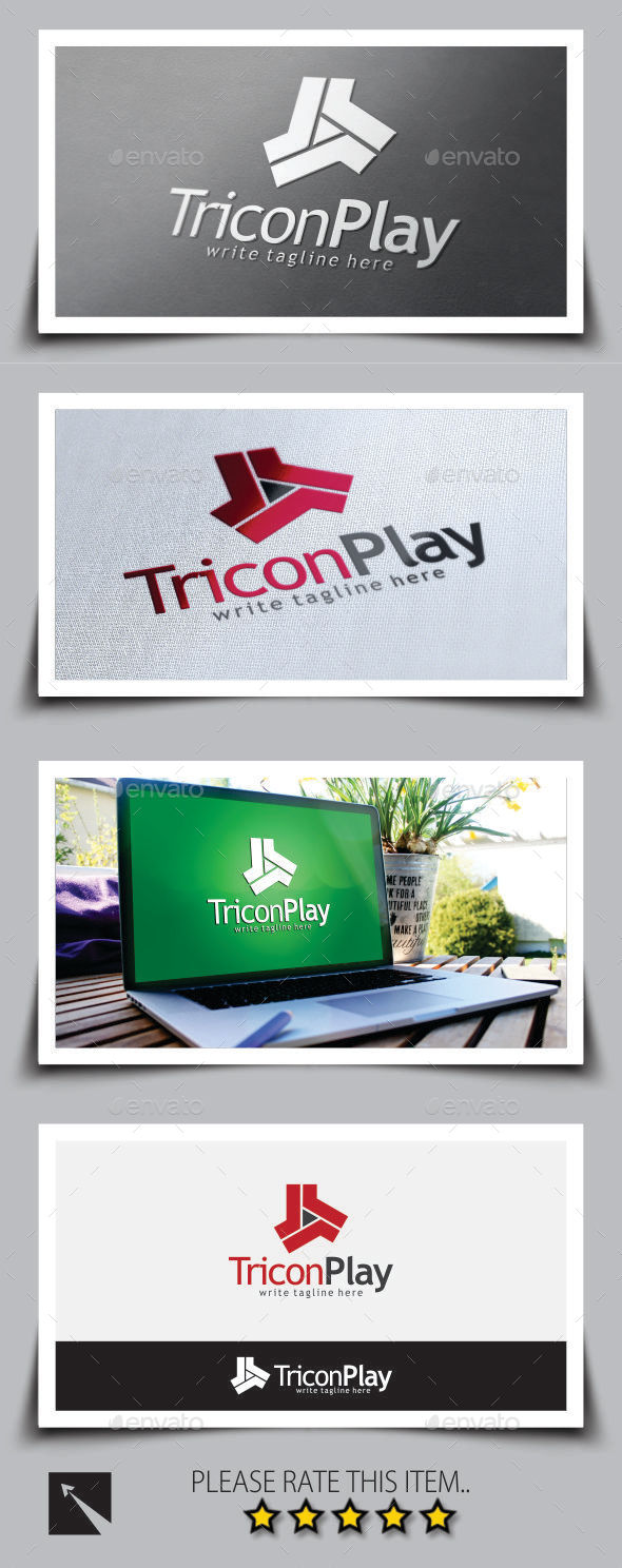 Tricon Play Media Logo Template - Symbols Logo Templates