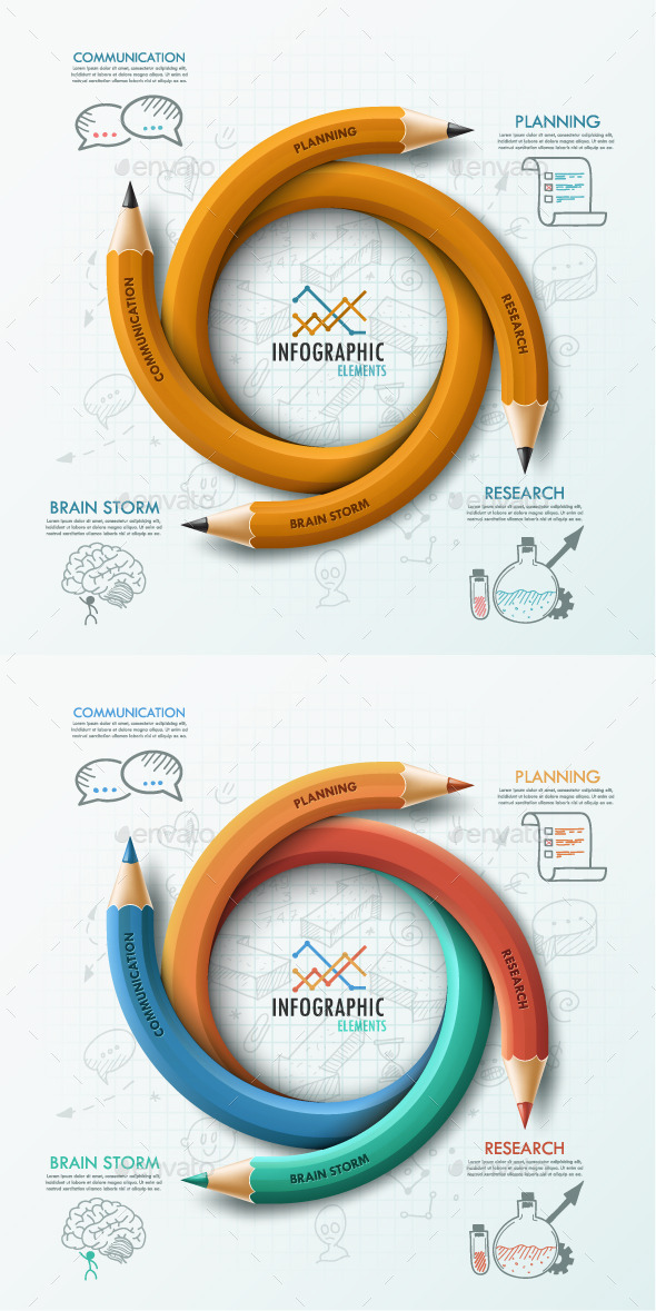 Modern Infographic Options Template (2 Items) - Infographics