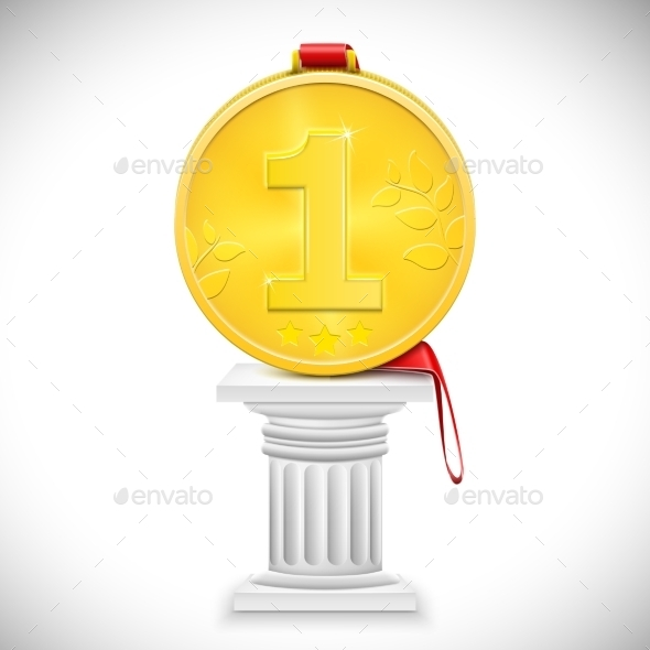 Golden Medal With Ribbon On Column - Concepts Business