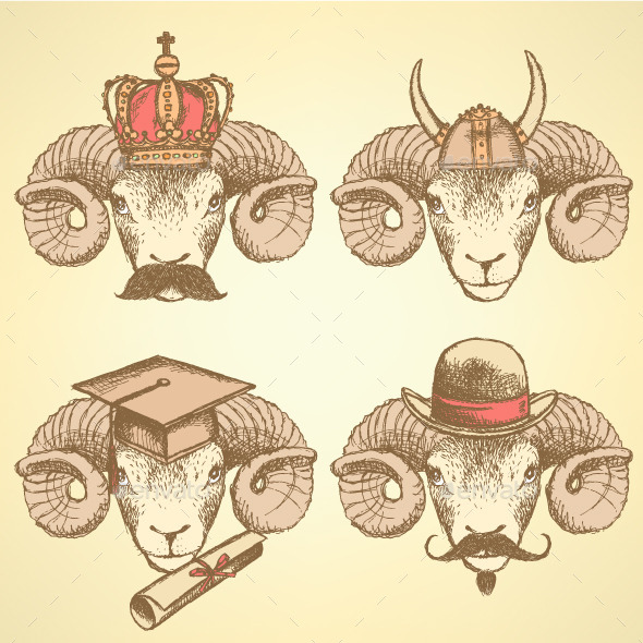Sketch Unusual Rams Set  - Animals Characters