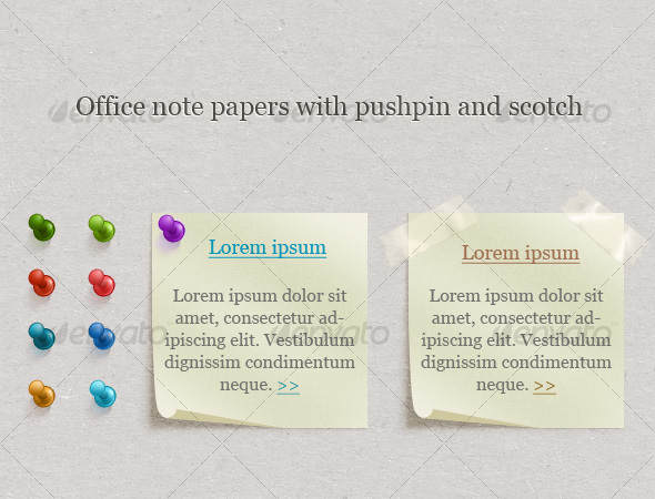 Office Note Papers With Pushpin and Scotch - Web Elements