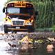 School Bus On Rainy Street - VideoHive Item for Sale
