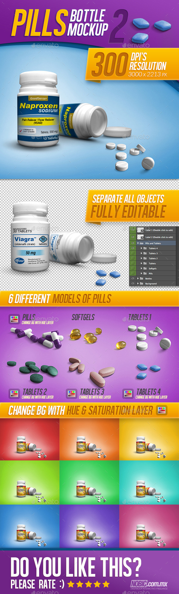 Medicine, Tablets, and Pills Bottle Mockup - Miscellaneous Packaging