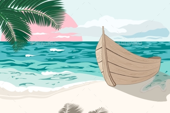Boat on the Sea Shore at Summertime - Travel Conceptual
