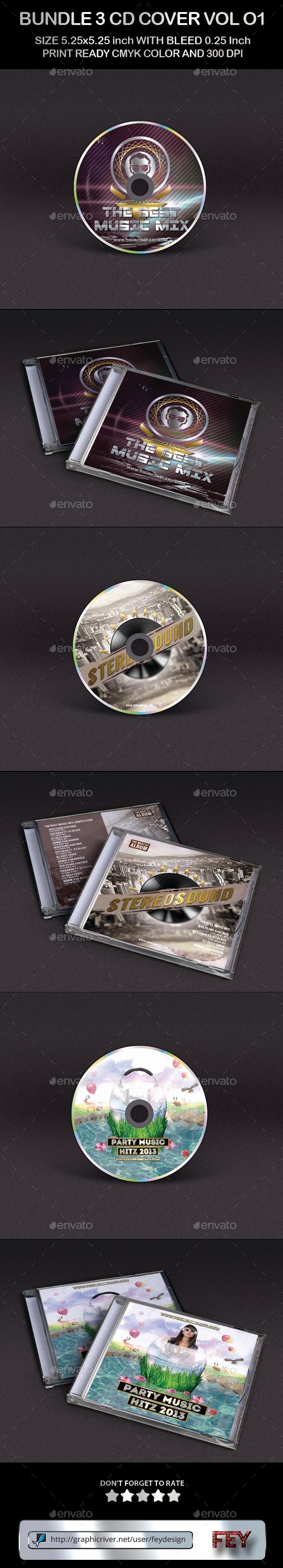 Bundle 3 CD Cover Template Vol.01 - CD & DVD Artwork Print Templates