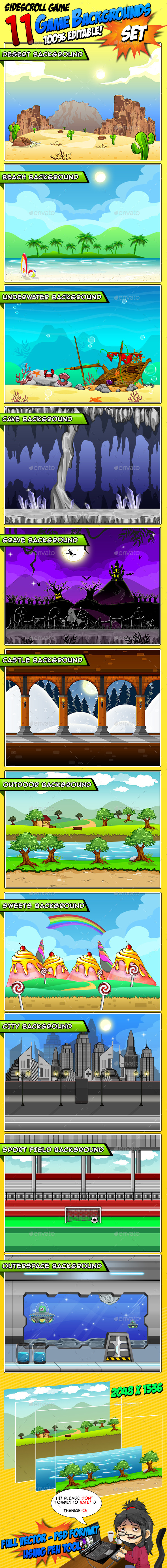 11 Set's - Game Backgrounds - Backgrounds Game Assets