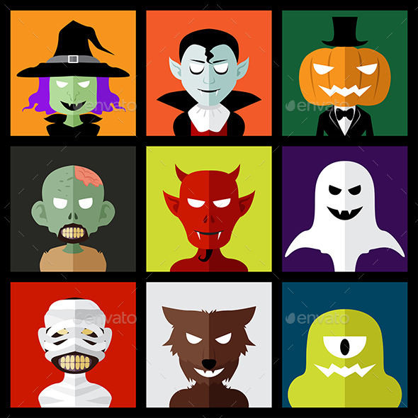 Halloween Monster Icons - Halloween Seasons/Holidays