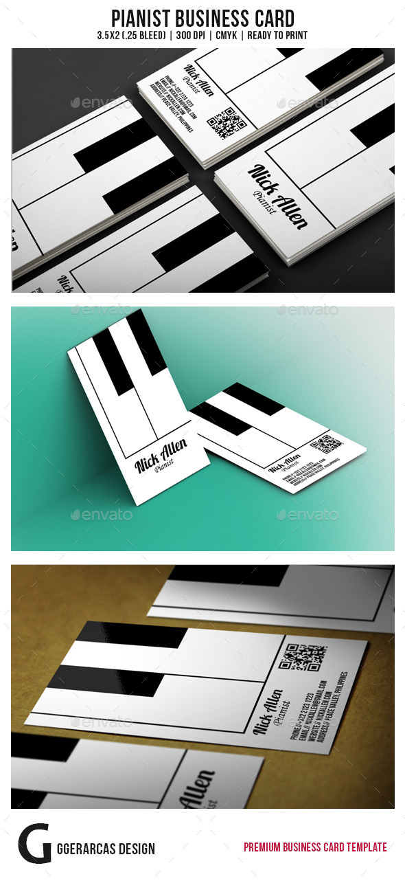 Pianist Business Card - Industry Specific Business Cards