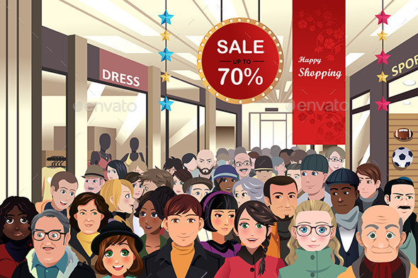 Holiday Shopping Sale Scene - Christmas Seasons/Holidays