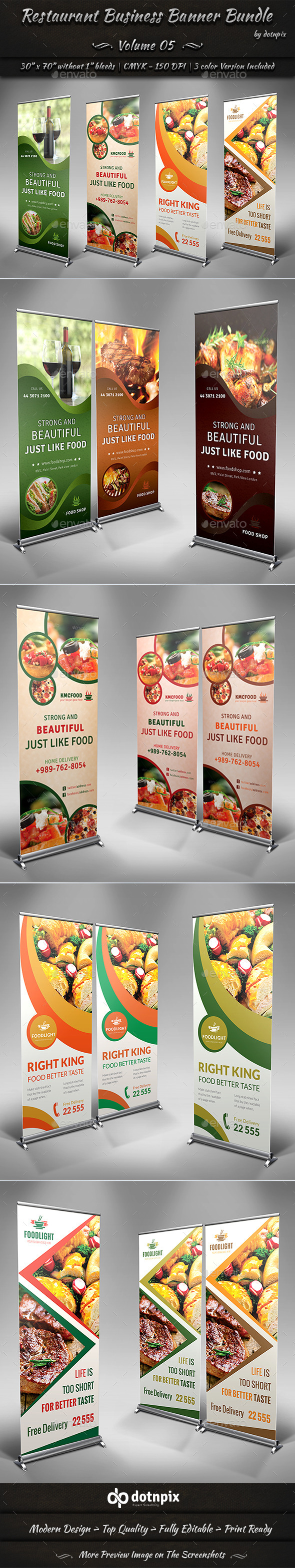 Restaurant Business Banner Bundle | Volume 5 - Signage Print Templates
