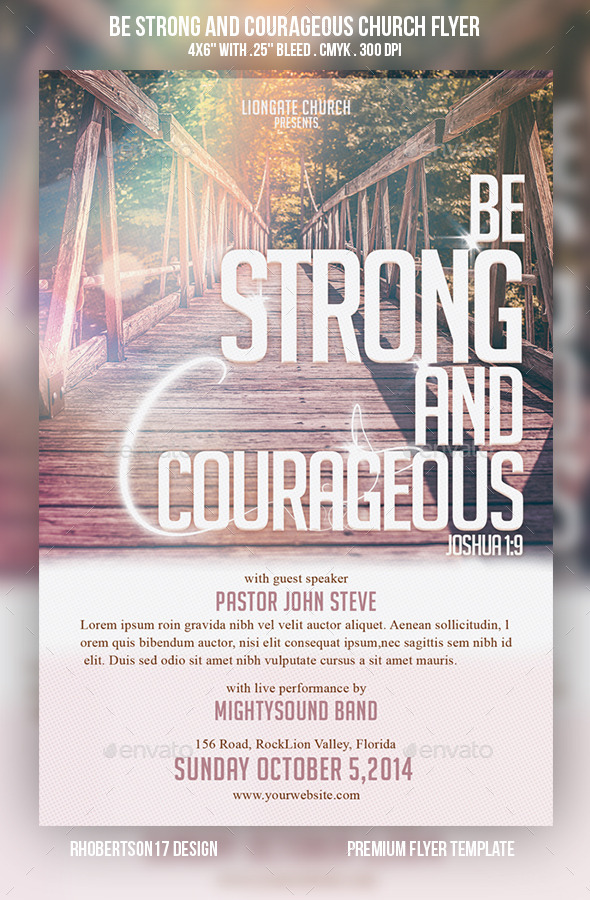 Be Strong and Courageous Church Flyer - Church Flyers
