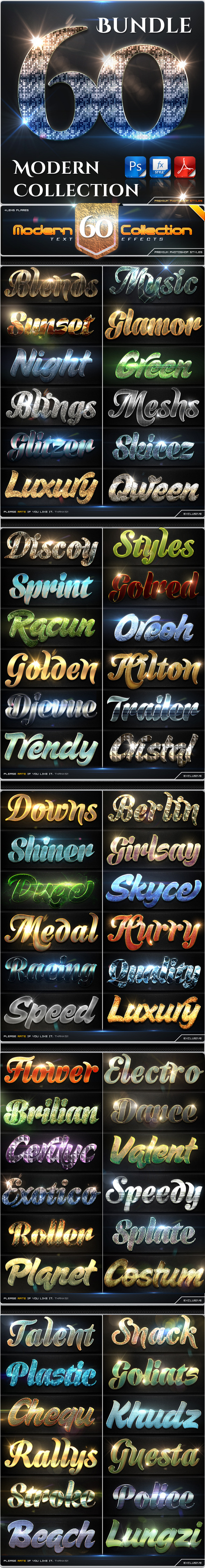 60 Modern Collection Text Effect Styles Bundle - Text Effects Styles