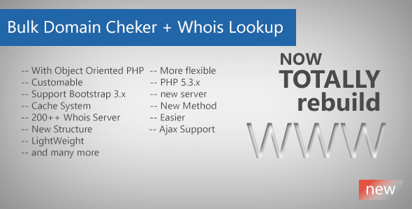 Bulk Domain Checker + Whois Lookup - CodeCanyon Item for Sale