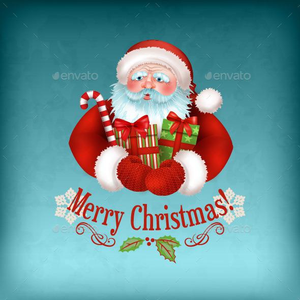 Santa Claus Carrying Gifts - Christmas Seasons/Holidays