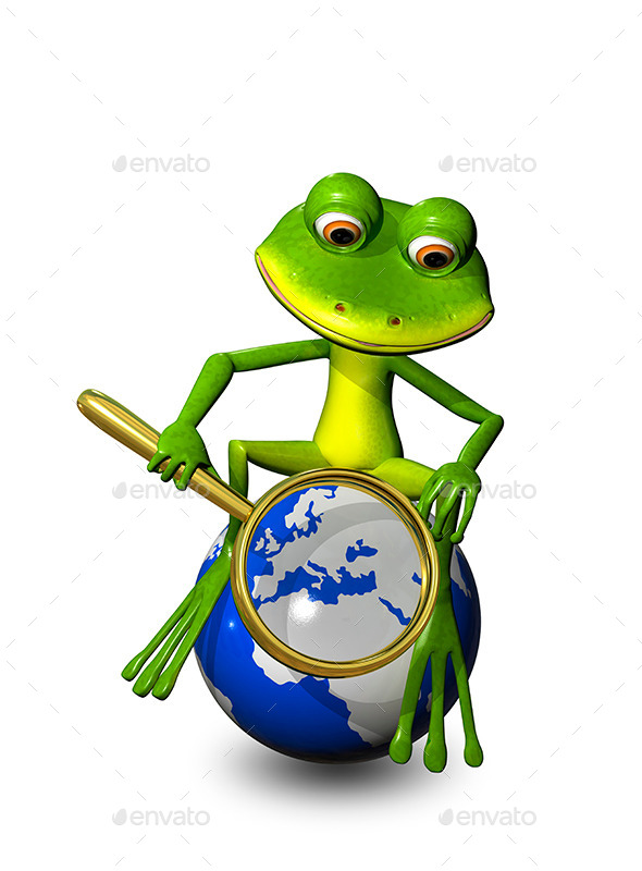 Frog on a Globe with a Magnifying Glass - Characters 3D Renders