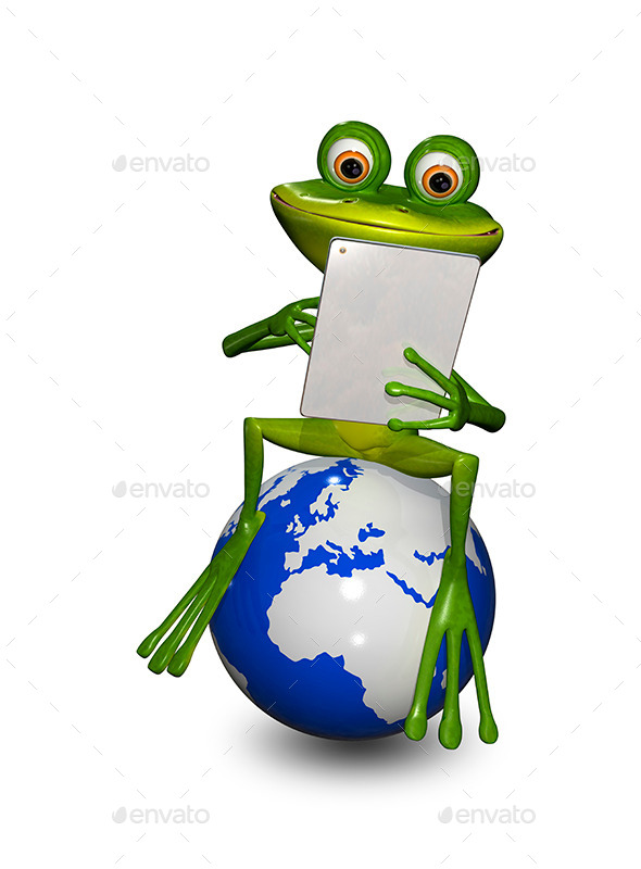 Frog on a Globe with the Tablet - Characters 3D Renders