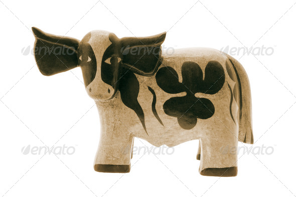 Wooden Cow Figurine - Stock Photo - Images