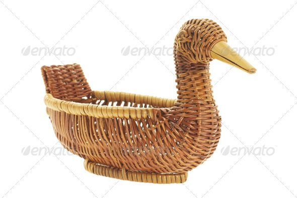 Duck Wicker Basket - Stock Photo - Images