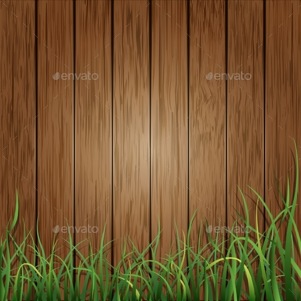 Wood Planks and Green Grass Background  - Backgrounds Decorative