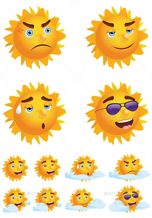 Sun with Different Emotions - Characters Vectors