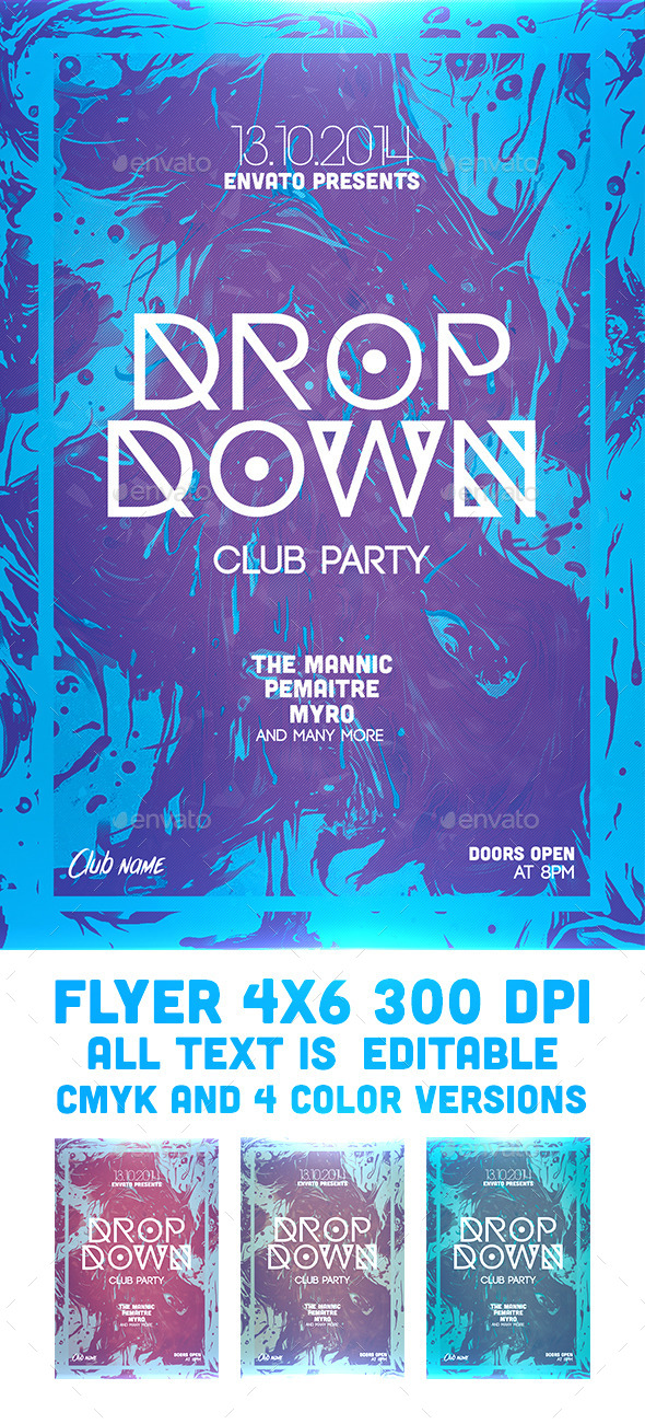Drop Down Flyer Template - Clubs & Parties Events