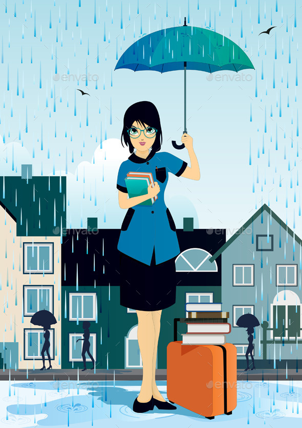 Woman holding an Umbrella  - People Characters
