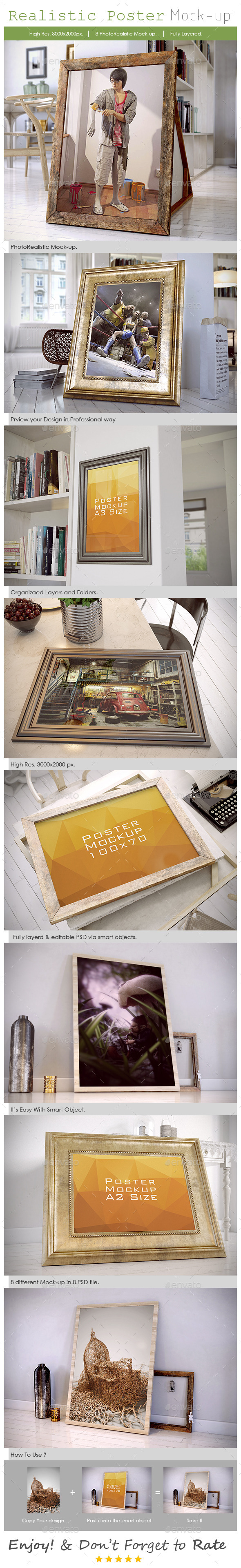Realistic Poster Mockup - Posters Print