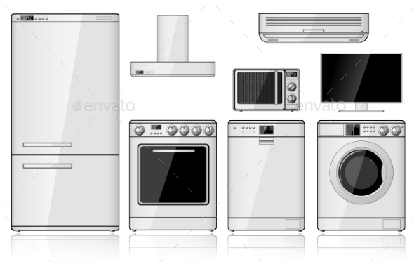 Set Of Realistic Household Appliances - Objects Vectors