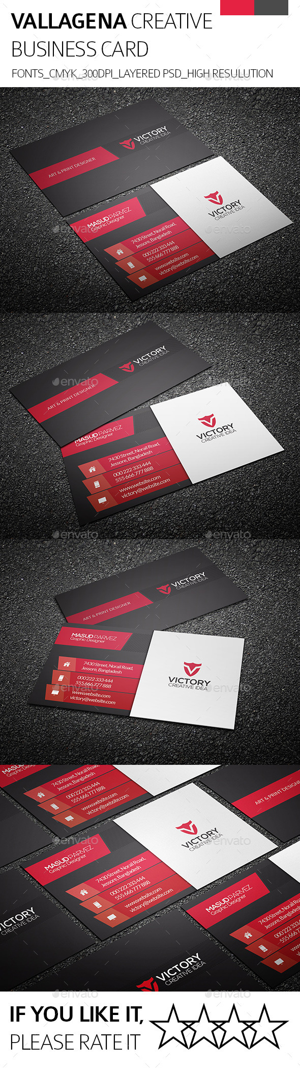 Vallagena & Creative Business Card - Corporate Business Cards