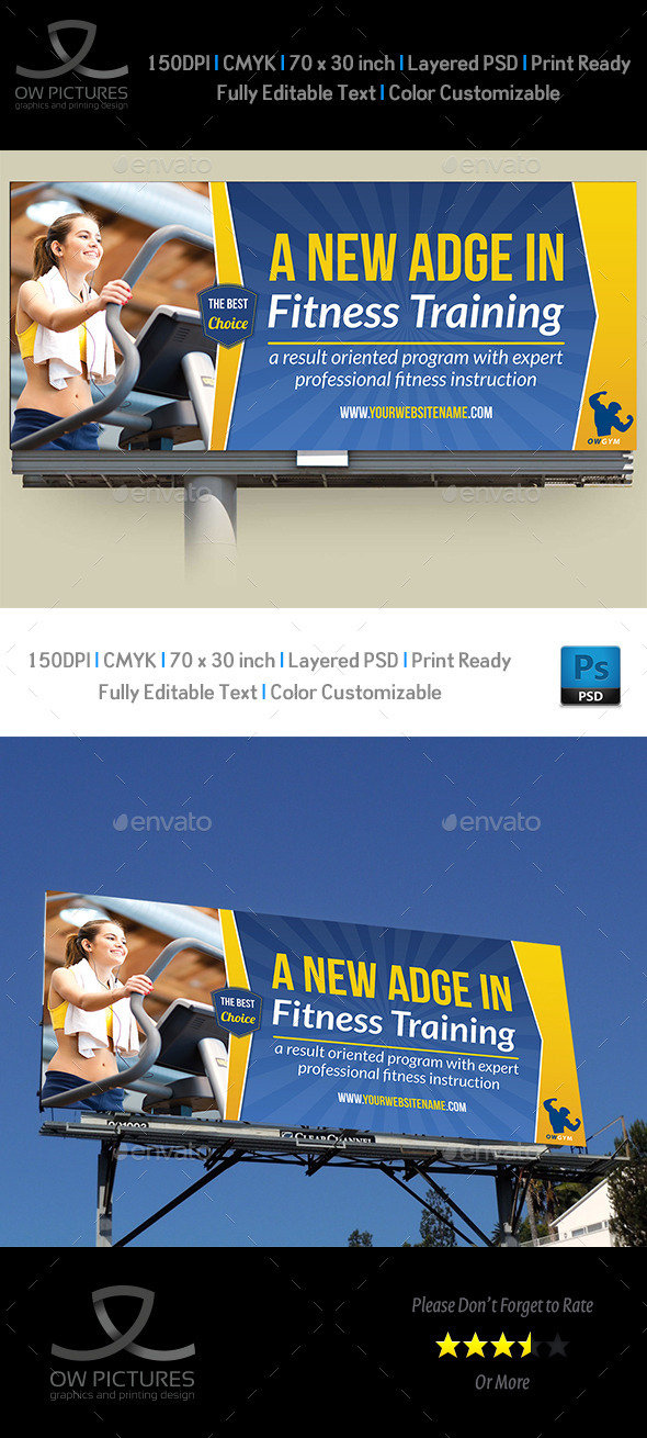 Fitness GYM Billboard Template - Signage Print Templates