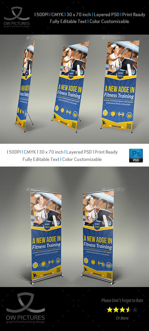 Fitness GYM  Rollup Signage Banner Template - Signage Print Templates