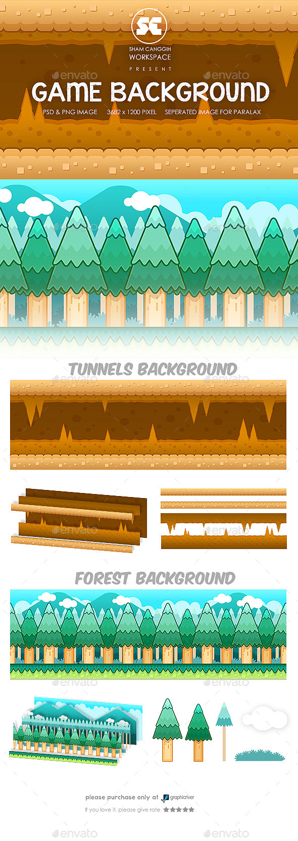 Game Background : Tunnel & Forest - Backgrounds Game Assets