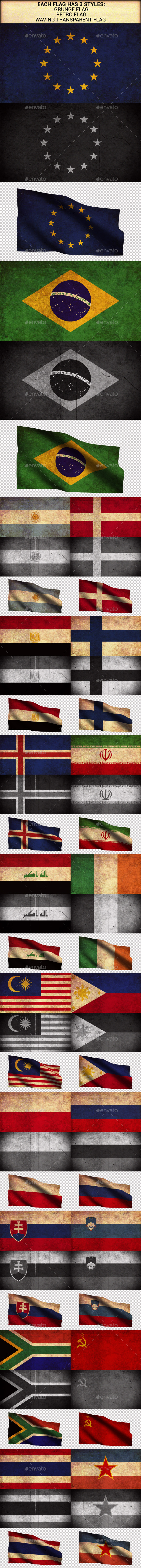 World Flags Grunge and Retro (Part 3) - Urban Backgrounds