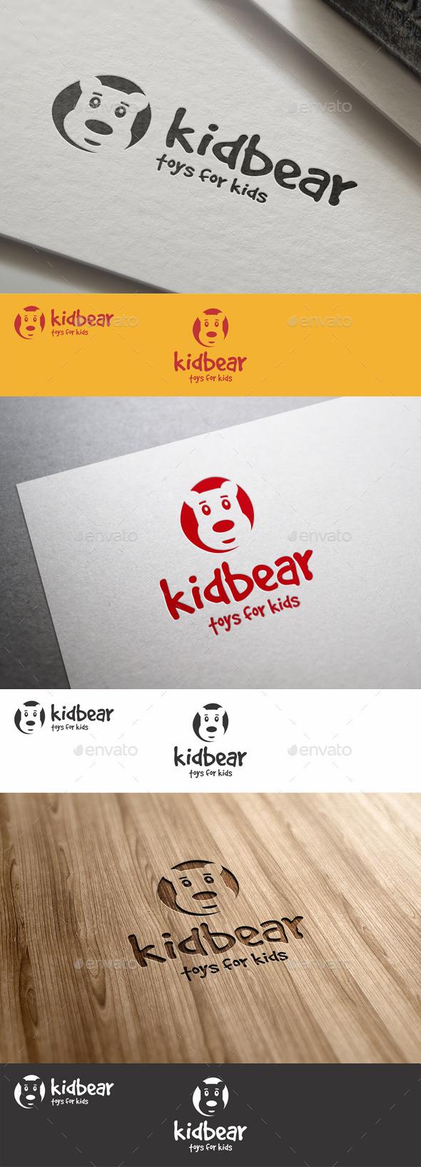 Funny Kid Bear Logo