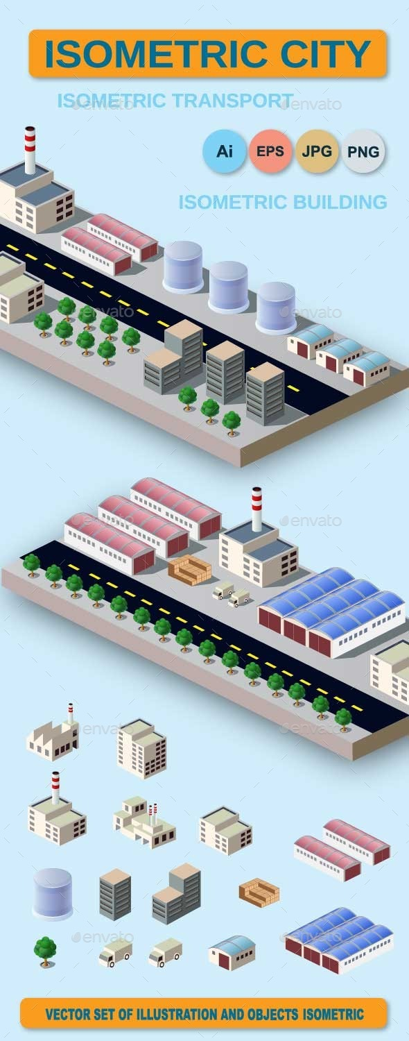 Illustration with Elements of Urban and Industrial - Buildings Objects