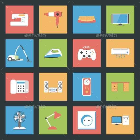 Home Furniture and Appliances Flat Icons Set - Web Elements Vectors