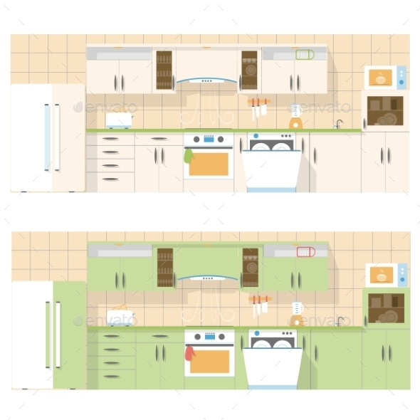 Kitchen Overlooking the Front, in a Flat Layout Design - Web Elements Vectors