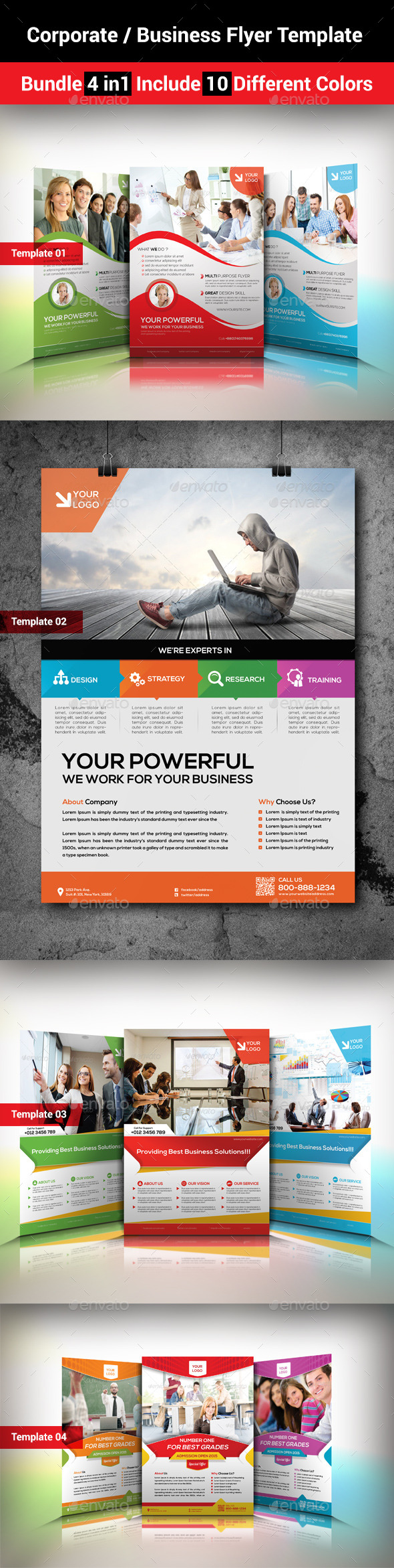 Corporate / Business Flyer Template Bundle 4 in1  - Corporate Business Cards